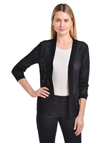 (Knit Minded Junior's Pointelle ¾ Sleeve Flyaway Geometric Cardigan, Black, Medium )