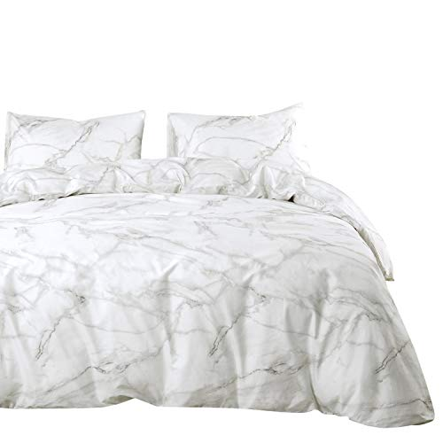 Wake In Cloud - Marble Comforter Set, 100% Cotton Fabric with Soft Microfiber Fill Bedding, Grey Gray Black and White Modern Pattern Printed (3pcs, Queen Size) (Comforters Queen Cotton)