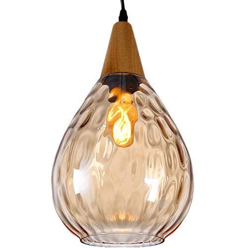 Modern Pendant Light, Motent Vintage Minimalism Sculpted Glass Mini Hanging Lamp with Wood Socket, Creative Simplicity Adjustable 1-Light Drop Lighting Fixture, 6.3'' Dia for Parlor Bar Bedroom - Amber