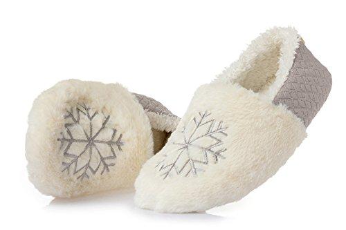 Kedera Donna Fiocco Di Neve Comfort Slip-on In Pelliccia Foderato Antiscivolo Casa Peluche Casa Grigio