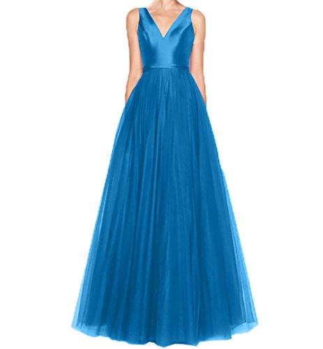 Ausschnitt A Kleider Blau Linie Charmant Langes V Abendkleider Brautjungfernkleider Jugendweihe Damen Rock 8nfqEg