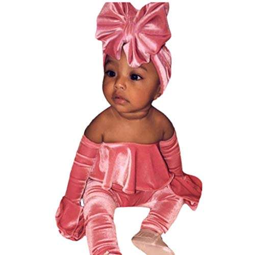 Sunhusing Cute Baby Solid Color Off-Shoulder Trumpet Sleeve Corduroy Jumpsuit Romper + Hair Band Outfits Set Pink