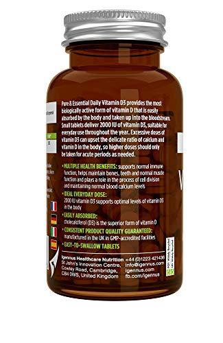 Pure & Essential Vitamine D3 Quotidienne 2000iu Cholécalciférol, 1 par jour, 1 an d'approvisionnement, végétarien, 365…
