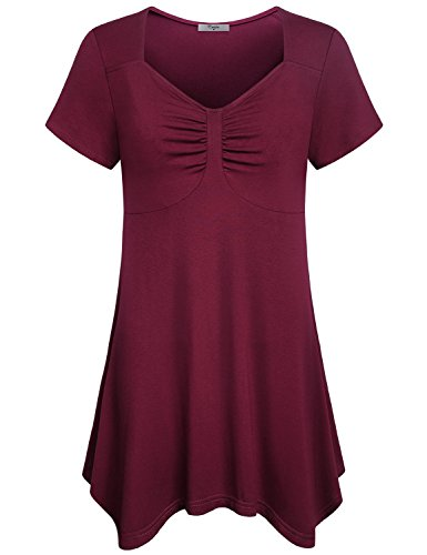 Sweetheart Tunic Top (Cestyle Spring Clothes For Women, 2018 Juniors Sweetheart Neckline Trendy flimsy Hi-Low Tunic Tops Misses Short Sleeve Shirts and Blouses On Sale Wine 2XL)