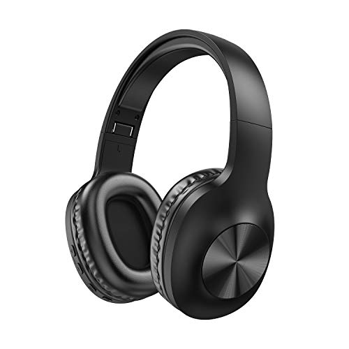Bluetooth Headphones Wireless Over Ear - with Hi-Fi Stereo, 24 Hours Playtime, Super Soft Earpads for Travel Work TV PC Phone - Black