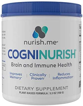 CogniNurish - Brain Support and Immune System Booster – Natural Brain Supplement for Memory and Focus – Powerful, Scientifically Formulated Blend of Brain Vitamins for Concentration & Brain Health
