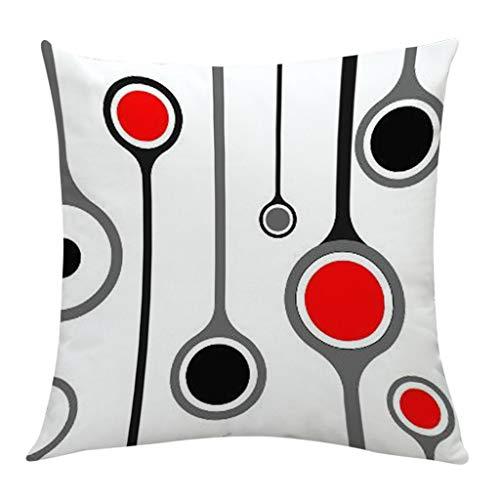 Sikye Pillowcase Square Black White Red Splicing Geometric Design Waist Throw Cushion Cover Bedroom Sofa Bench De (C)