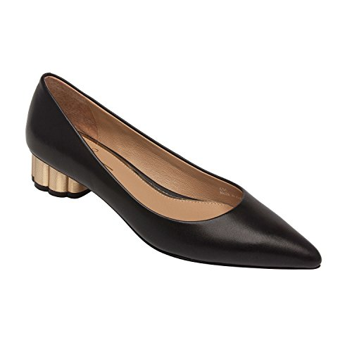 Toledo Oxfords (Linea Paolo Toledo | Pointy Toe Sculpted Metal Heel Mid-Height Pump Black Leather 6M)