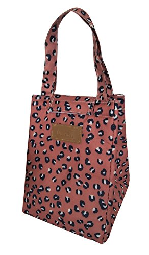 CLOCOR Lunch Bag Foldable Insulated Lunch Tote Reusable Canvas Cooler Bag Lunch Organizer for Students,Men and Women (Leopard)