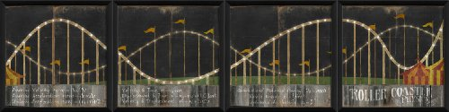 The Artwork Factory 4-Panel Roller Coaster Ready to Hang Artwork, Black by The Artwork Factory