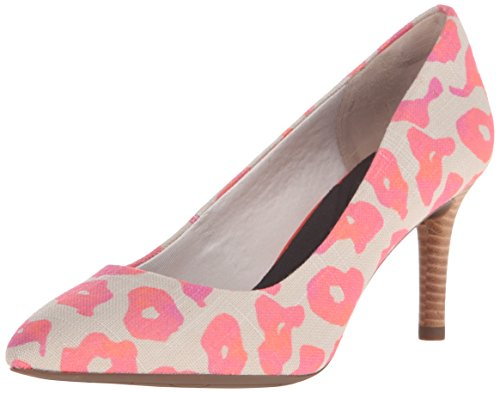 Rockport Women's Total Motion 75mm Pointy Toe Pump Pink Leo Canvas 8 M ()
