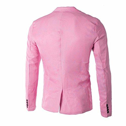 Un Giacche Classico Cerimonia Festa Elegante Affari Bottoni Rosa Fit Matrimonio Tasche Abiti Uomo E Con Mambain Slim Giacca Giacca Per Blazer OIYxTa