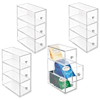 mDesign Plastic Kitchen Storage Tea Organizer, Flips, 3 Drawers