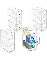 mDesign - Theedoos - ladekastje/opbergbox/organizer - voor de keuken - voor verschillende soorten theezakjes, koffiepads, zoetjes en meer - handig/stevig