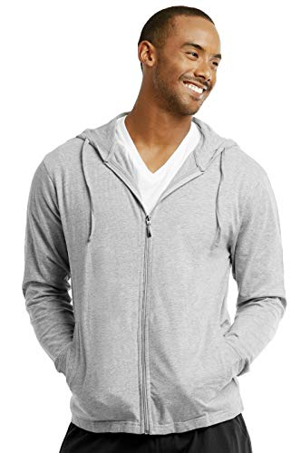 ET TU Men's Cotton Lightweight Zip Up Hoodie Jacket (S, Heather Gray)