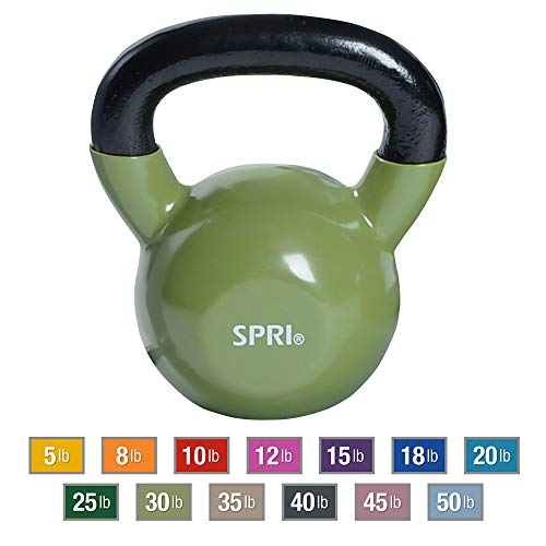SPRI Kettlebell Weights Deluxe Cast Iron Vinyl Coated Comfort Grip Wide Handle Color Coded Kettlebell Weight Set (Moss Green, 30-Pound)