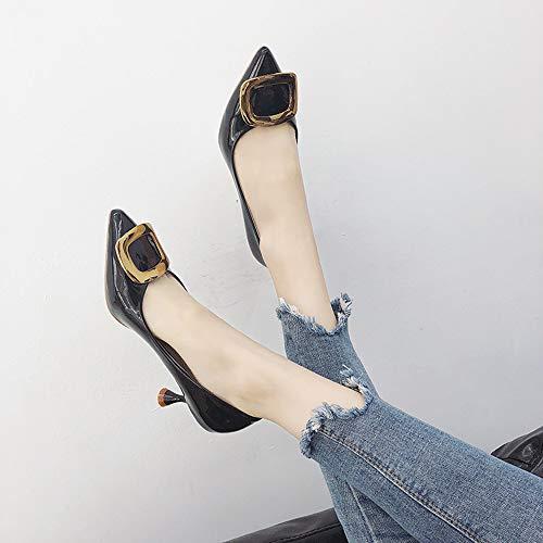 Jqdyl Zapatos de tacón Alto de Las Nuevas Mujeres de los Tacones Altos de la Moda con los Zapatos de la Hebilla Cuadrada de Cuatro pies de la Boca Baja
