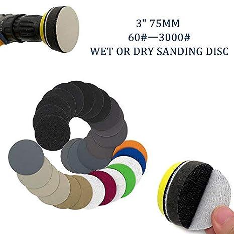 Maso Disques abrasifs pour ponceuse de polissage 7,6 cm avec crochets et disques de ponçage en boucle avec coussinets Velcro 75 mm – Total 10 disques, multicolore