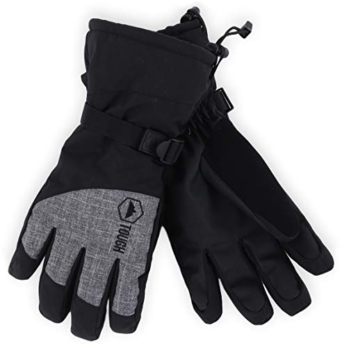 Winter Ski & Snowboard Gloves with Wrist Leashes - Waterproof & Windproof Snow Gloves for Skiing, Snowboarding, Shoveling - Nylon Shell, Thermal Insulation & Synthetic Leather Palm - Fits Men & Women ()