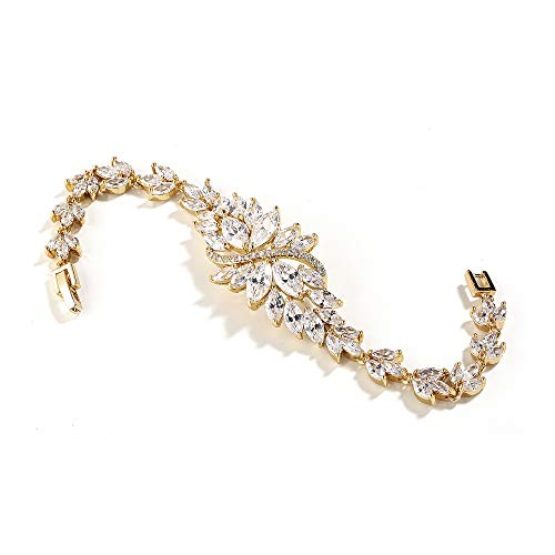 Mariell 14K Gold Plated Cubic Zirconia Bridal Wedding Tennis Bracelet with Marquis-Cut CZ Cluster