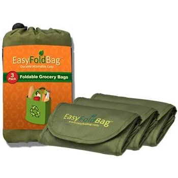 Easy Fold Bag - Reusable Grocery Bags - 3 Pack, Moss Green