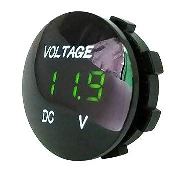 coflower Voltm/ètre de la Voiture LED de Bateau de Moto indicateur de Tension 12V m/ètre imperm/éable Durable