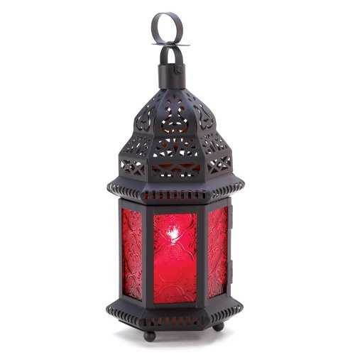 outdoor moroccan lighting. Gifts \u0026 Decor Red Glass Metal Moroccan Candle Holder Hanging Lantern Outdoor Moroccan Lighting