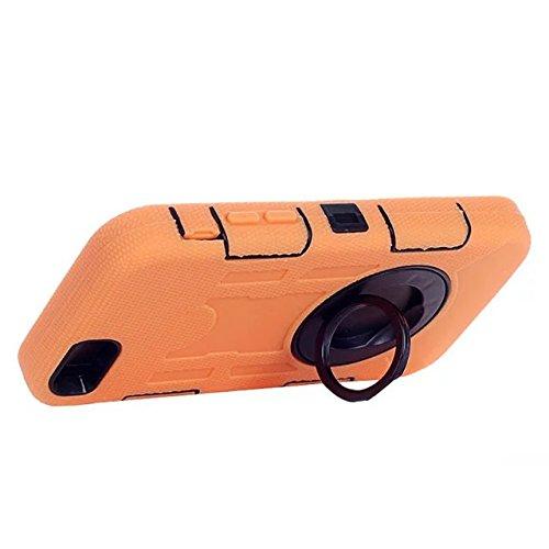 """Iphone 6 Coque Plus,Iphone 6S plus 5.5 """"Coque,Lantier 3 en 1 en caoutchouc dur + Hybrid PC Combo robuste avec Annulaire Béquille Couvercle de protection pour Apple Iphone 6 Plus/6S plus 5.5"""" Orange"""