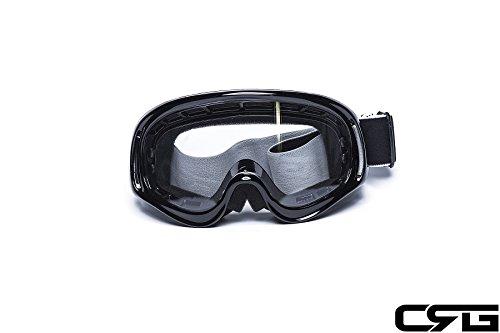 CRG Sports Motocross ATV Dirt Bike Off Road Racing Goggles BLACK T815-3-1 T815-3-1 Transparent lens black ()