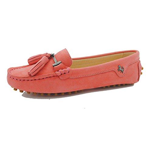 Minitoo ,  Damen Durchgängies Plateau Sandalen mit Keilabsatz Leather-Pink