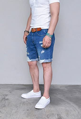 Mens Distressed Straight Relaxed Fit Damaged Turn-up Denim Cutoff Shorts