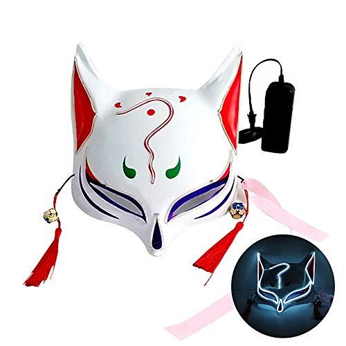 L'VOW Halloween Fox Mask LED Light Up Japanese Kabuki Masks for Festival Cosplay Costume Props (White) -