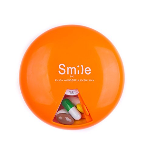 7 Day Pill Organizer Case - Lady Color Portable 7-Day Pill Dispenser Box with 360 Degree Rotation 7 Compartments (Orange)