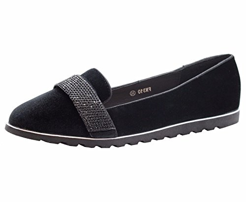 SAUTE STYLES Ladies Womens Flats Casual Slip on Ballet Loafers School Office Pumps Shoes Size 3-8 Black unyH1GFF
