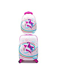 MOREFUN 2 Pcs Kids Carry on Luggage Set Spinner Wheels 18'' Luggage 13'' Backpack Travel for Girls (Unicorn)
