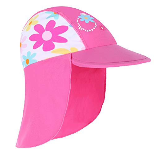 HUANQIUE Baby Toddler Sun Protection Hat UPF 50 + Swim Hat Deep Pink 6-18 Months (Best Baby Swim Hat)