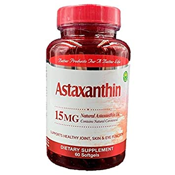Natural Astaxanthin 15mg, Maximum Strength, 60 Softgels Supports Healthy Joint, Skin, Eye
