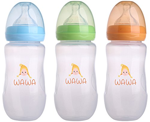 Wawa Baby Bottle - The Leak Proof Feeding Bottle with Soft Silicone Nipple for Natural Touch, Milk Flow - Child Safe Anti Colic Infant Nursing, BPA Free, Large Flow, 10 Ounces, 3 Count