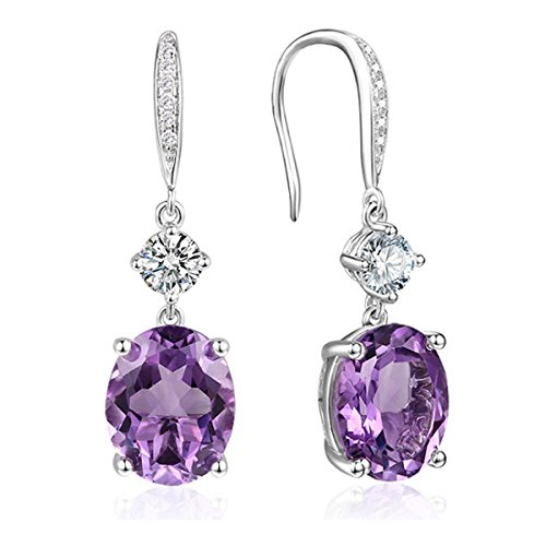 4.95Ct Oval Natural Gemstone Sterling Silver Hook Dangle Earrings with Round CZ Halo for Women 0.9