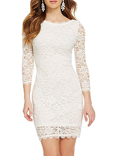 WOOSEA Elegant 3/4 Sleeve Full Flroal Lace Short Cocktail Dress (Large, White)