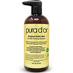 PURA D'OR Original Gold Label Anti-Hair Thinning Shampoo is formulated with 17 Top Rated Key Active Ingredients that promote stronger, cleaner, healthier hair. Hand selected botanical ingredients, such as Argan Oil, Red Korean Seaweed, Saw Palmetto, ...