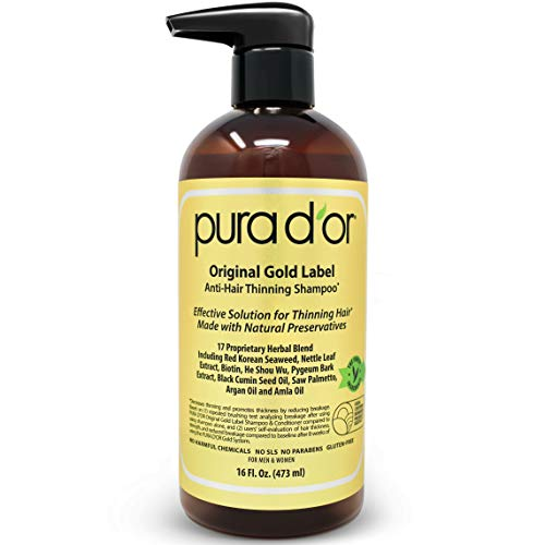 PURA D'OR Original Gold Label Anti-Thinning Shampoo Clinically Tested, Infused with Argan Oil, Biotin & Natural Ingredients, Sulfate Free, All Hair Types, Men and Women, 16 Fl Oz (Packaging may vary) ()