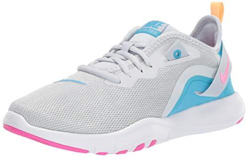 (Nike Women's Flex Trainer 9 Sneaker, Pure Platinum/Laser Fuchsia - White, 9.5 Regular US)