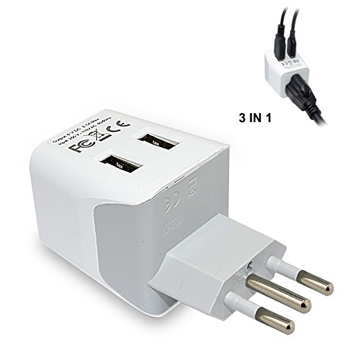 Ceptics USA to Italy Travel Adapter Plug  With Dual USB - Ty