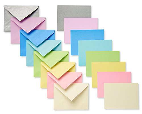 American Greetings Pastel Blank Flat Panel Note Cards and Colored Envelopes, 100-Count (Note Card Gift Set)
