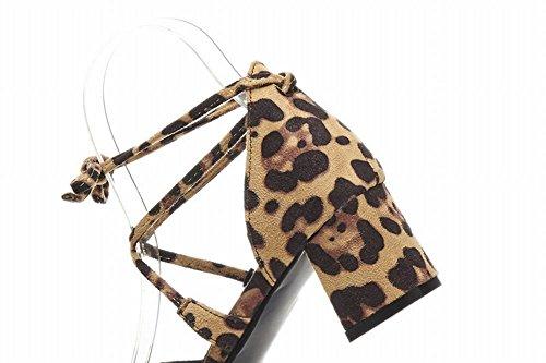 Mee Shoes Damen chunky heels runde mit Schnürsenkel Pumps Leopard