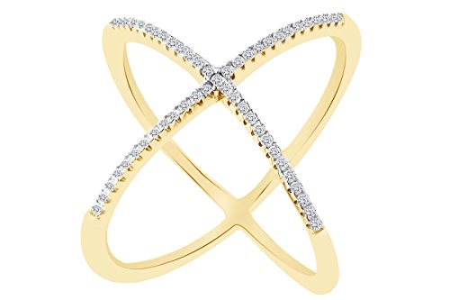 AFFY White Cubic Zirconia Criss Cross Single X Fashion Ring in 14k Yellow Gold Over Sterling Silver (0.64 cttw) Ring Size-9