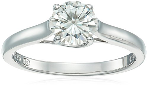 Platinum Over Sterling Silver Moissanite Ring, Size 7 by Amazon Collection