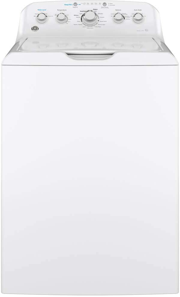 GE GTW465ASNWW Top Loading Washer with Stainless Steel Basket, 4.5 Cu. Ft. Capacity, 14 Cycles, White,