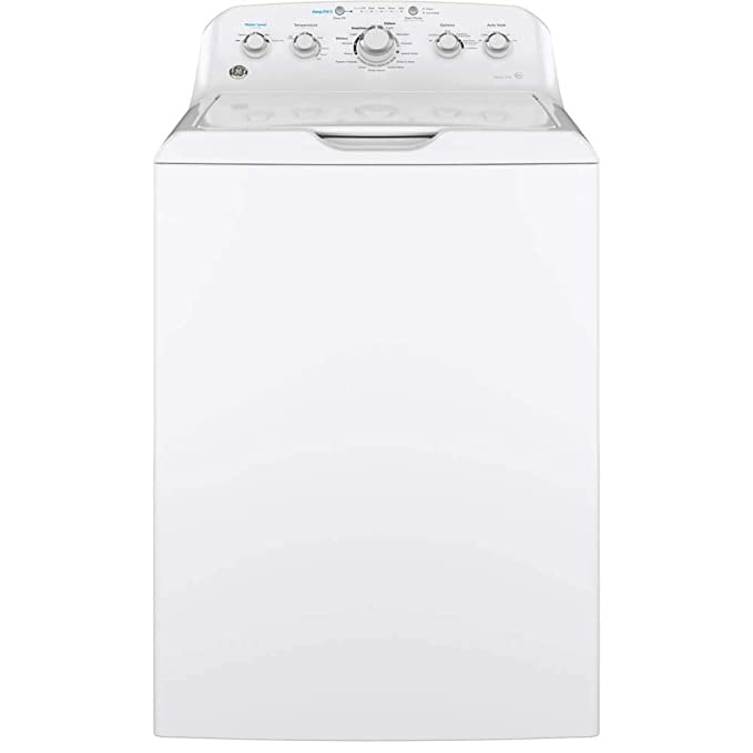 GE GTW465ASNWW Top Loading Washer with Stainless Steel Basket, 4.5 Cu. Ft. Capacity, 14 Cycles, White, best top-loading washer